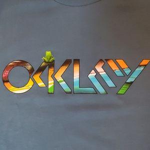 Men's Oakley Blue Tshirt Multi-Colored LogoFrog